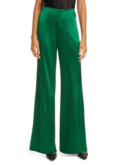 Alice + Olivia Dylan High Waist Wide Leg Satin Pants