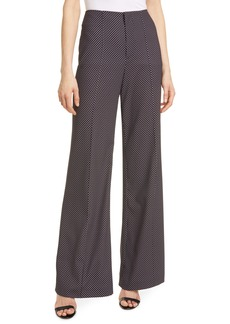 Alice + Olivia Dylan Mini Dot Clean Wide Leg Trousers