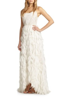 Alice + Olivia Eaddy Embroidered Feather Gown