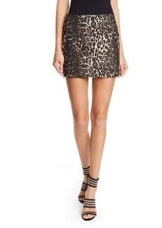 Alice + Olivia Elana Leopard Print Cotton Blend Miniskirt