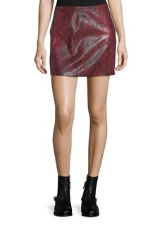 Alice + Olivia Elana Printed Lamb Leather Mini Skirt