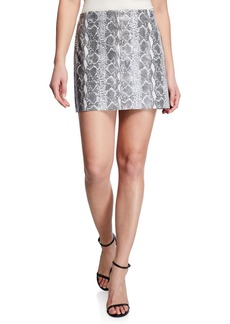 Alice + Olivia Elana Snake-Print Leather Mini Skirt
