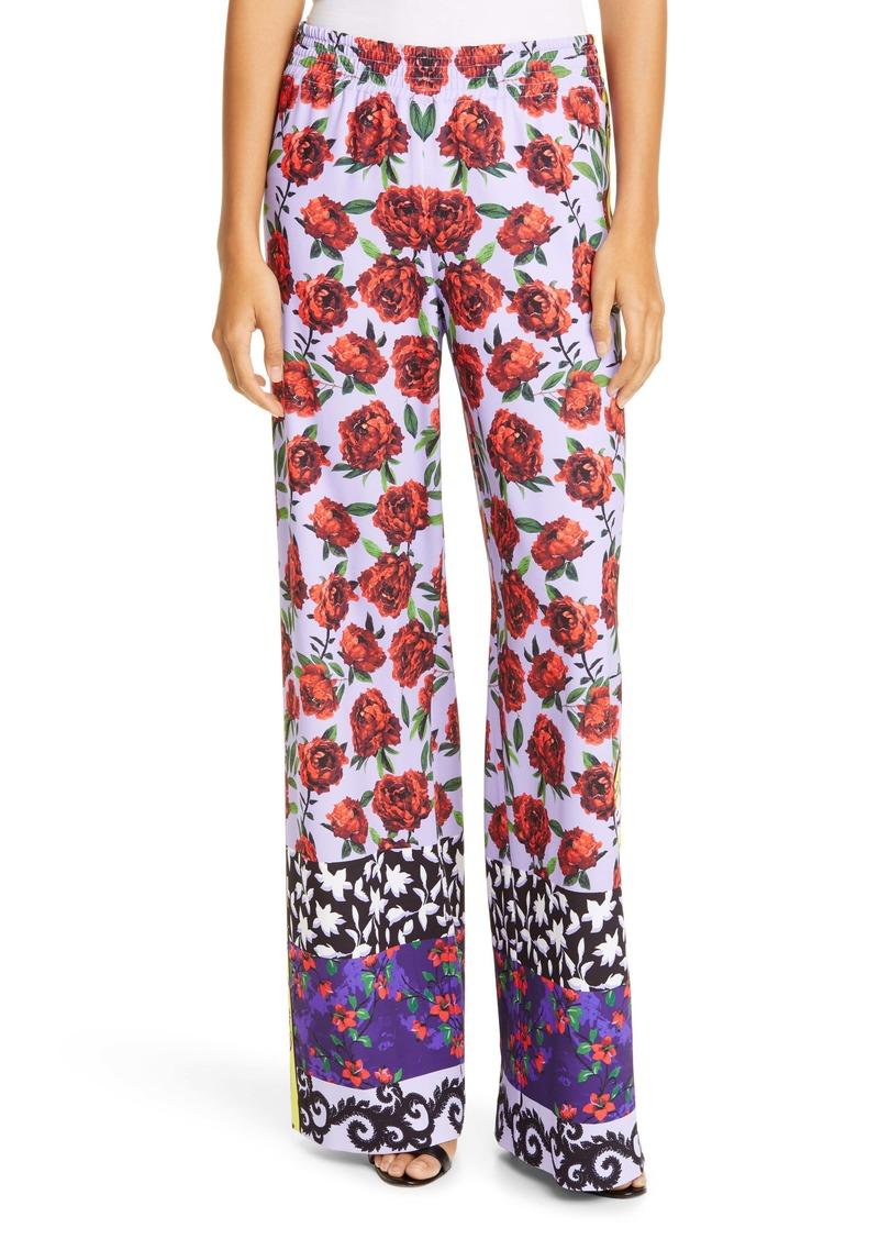 Alice + Olivia Elba Floral Print Wide Leg Pants