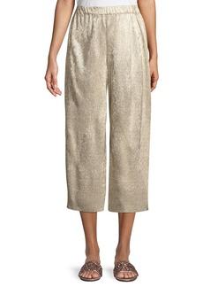 Alice + Olivia Elba Plisse Pull-On Cropped Wide-Leg Pants