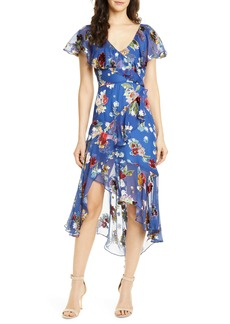 Alice + Olivia Electra Asymmetrical Ruffle Chiffon Dress