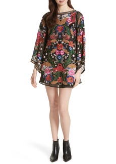 Alice + Olivia Eleonora Bell Sleeve Floral Embellished Dress