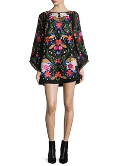 Alice + Olivia Eleonora Embellished Poet-Sleeve Floral Cocktail Dress