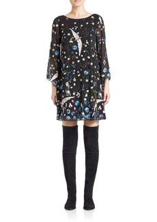 Alice + Olivia Eleonora Embroidered Shift Dress