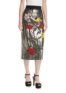 Alice + Olivia Ella Embellished Sequin Straight Midi Skirt