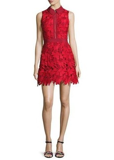 Alice + Olivia Ellis Guipure Lace Sleeveless Zip-Front Dress