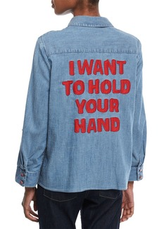 Alice + Olivia Elosie Button-Front Denim Shirt w/ Graphic Message