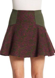 Alice + Olivia Elsie Angle Yoked Flare Skirt