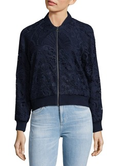 Alice + Olivia Embroidered Bomber Jacket