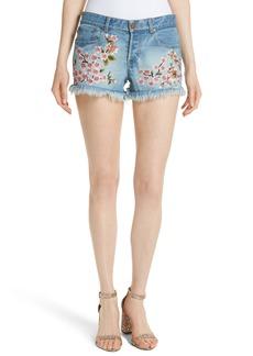 Alice + Olivia Embroidered Denim Shorts