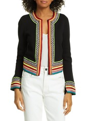 Alice + Olivia Embroidered Detail Open Cotton Cardigan