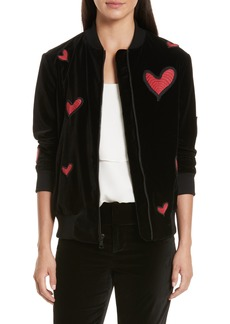 Alice + Olivia Embroidered Patch Oversize Bomber Jacket
