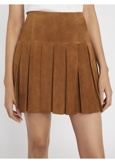 alice + olivia EMILIE PLEATED SUEDE MINI SKIRT