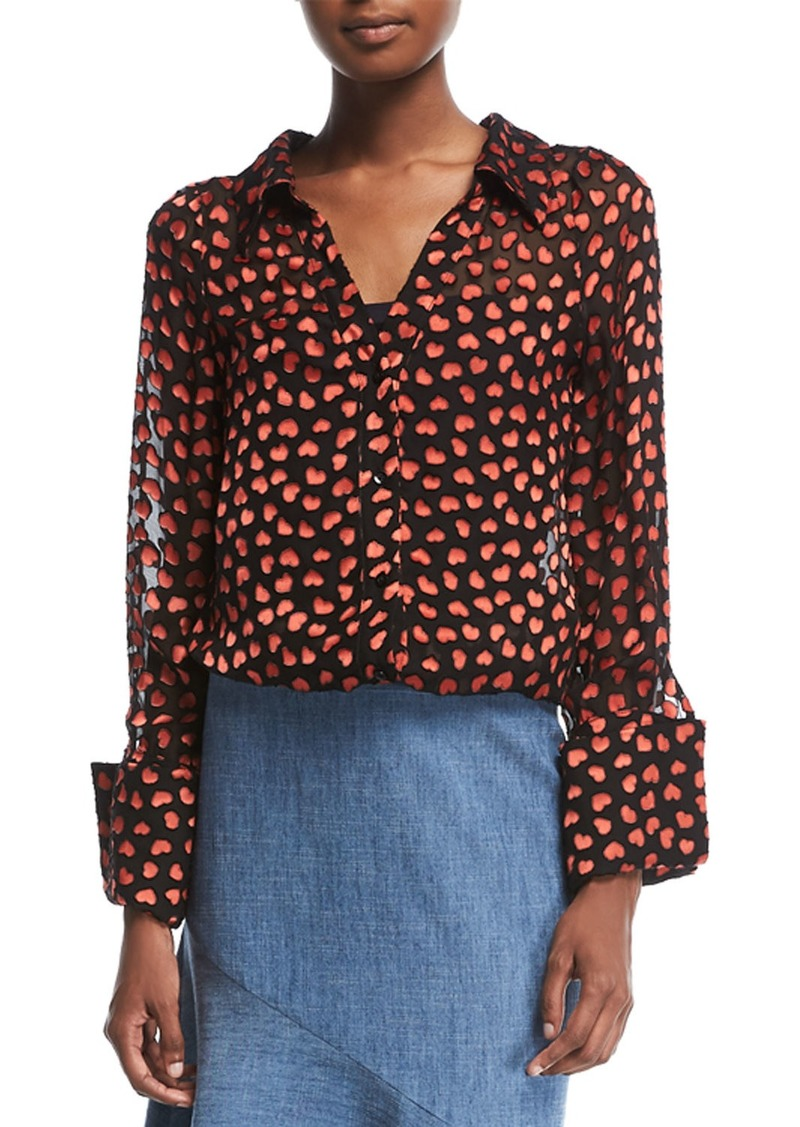 Alice + Olivia Emmerson Heart-Burnout Velvet Shirt