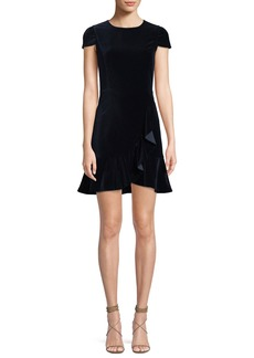 Alice + Olivia Enid Draped Ruffle Short-Sleeve Cocktail Dress