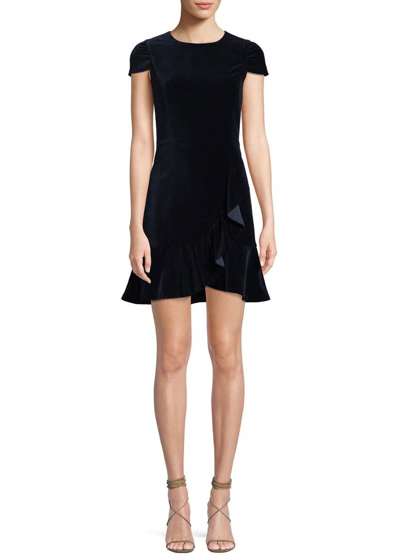 Alice + Olivia Enid Draped Ruffle Short-Sleeve Cocktail Dress