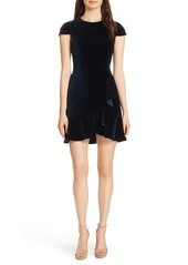 Alice + Olivia Enid Ruffled Velvet Minidress
