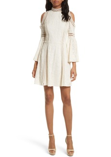 Alice + Olivia Enya Embroidered Cold Shoulder Dress
