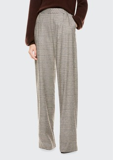 Alice + Olivia Eric High-Waist Front Pleat Check Pants