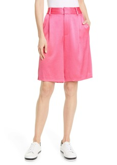 Alice + Olivia Eric High Waist Satin Bermuda Shorts