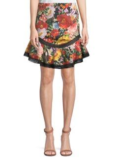 Alice + Olivia Eriko Floral-Print Curved-Hem Skirt with Lace Trim