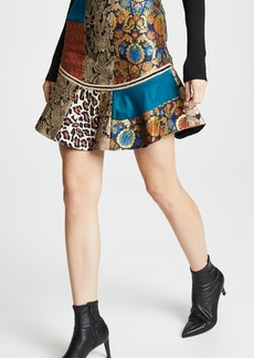 alice + olivia Eriko Patchwork Curved Hem Skirt