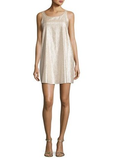 Alice + Olivia Estelle Metallic Sleeveless Shift Dress