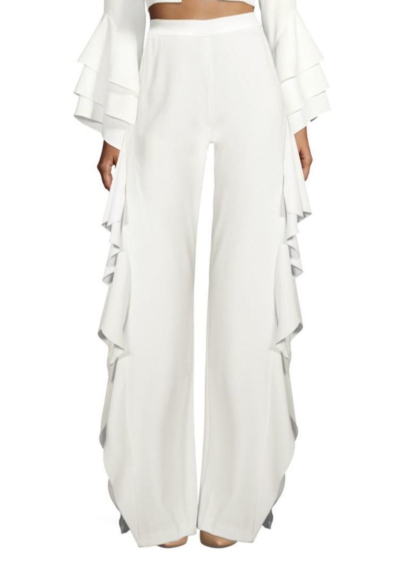 afed0c4165c549 On Sale today! Alice + Olivia Estelle Ruffle Side Slit Pants