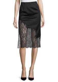 Alice + Olivia Evana Side-Slit Midi Skirt w/ Lace