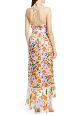 Alice + Olivia Evelia Asymmetrical Ruffle Maxi dress