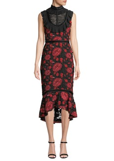 Alice + Olivia Evelina High-Neck Sleeveless Floral-Lace Cocktail Dress w/ Ruffle Bib