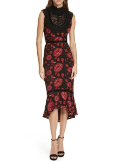 Alice + Olivia Evelina High Ruffle Neck Body-Con Midi Dress