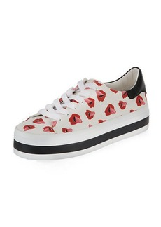 Alice + Olivia Ezra Printed Canvas Lace-Up Platform Low-Top Sneakers