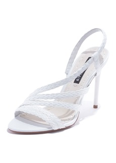 Alice + Olivia Fanniey High-Heel Raffia Slingback Sandals