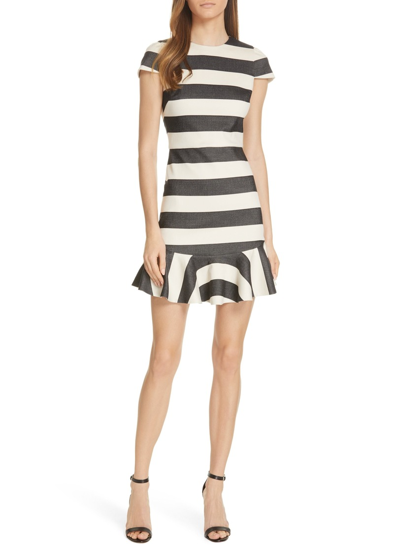 Alice + Olivia Fantine Ruffled Stripe Dress