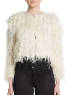 Alice + Olivia Cropped Shearling Jacket