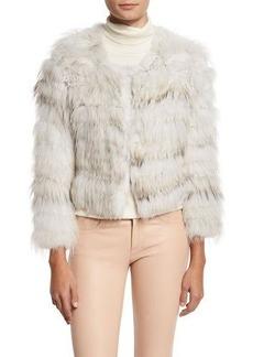Alice + Olivia Fawn Rabbit & Fox Fur Bomber Jacket