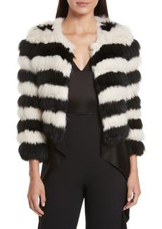 Alice + Olivia Fawn Stripe Genuine Rabbit & Fox Fur Jacket