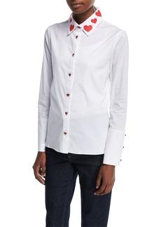 Alice + Olivia Faye Heart-Collar Button-Down Shirt