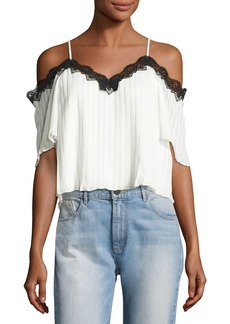 Alice + Olivia Fefe Cold-Shoulder Lace-Trim Pleated Blouse