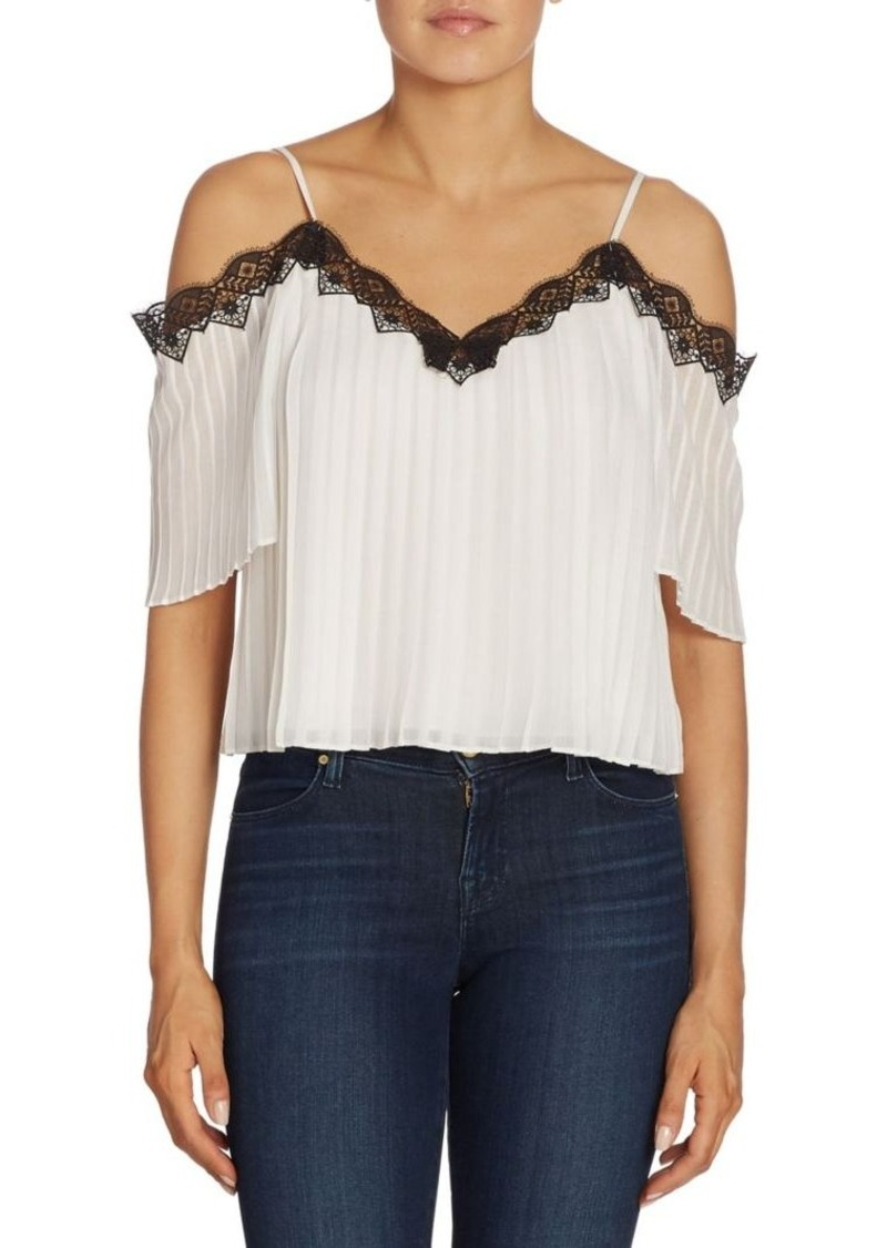 Alice + Olivia Fefe Cold Shoulder Pleated Blouse