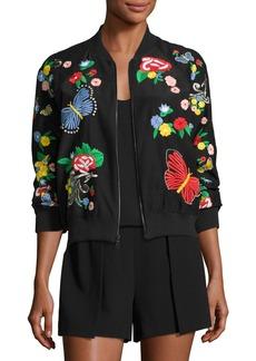 Alice + Olivia Felisa Embroidered Bomber Jacket