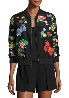 Alice + Olivia Felisa Embroidered Bomber Jacket