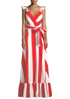 Alice + Olivia Fernanda Flutter-Straps Wide-Stripe Cotton Maxi Dress
