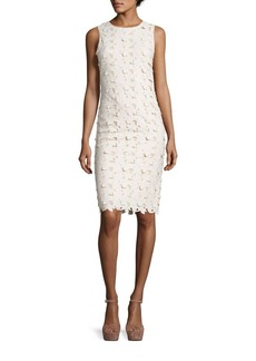 Alice + Olivia Fey Embroidered Faux Leather Lace Dress