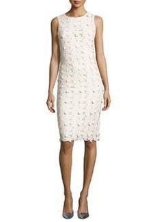 Alice + Olivia Fey Faux-Leather Lace Sheath Dress